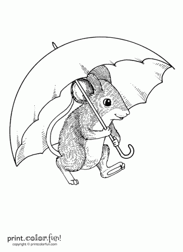 Drawn rodent umbrellas The Fun! Print with coloring