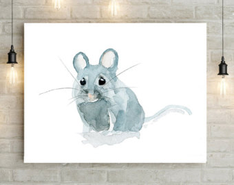 Drawn rodent artwork Watercolor Mouse Animal Giclee Mouse