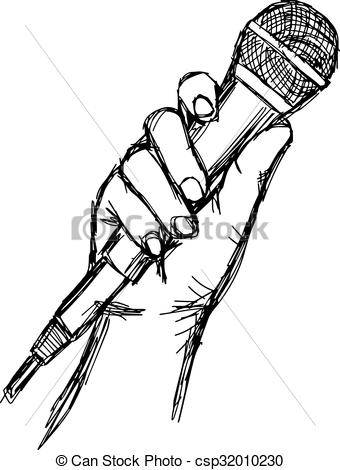 Drawn microphone Vector of drawn microphone sketch