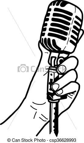 Drawn microphone hand drawing Holding hand draw retro of