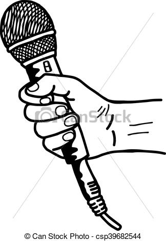 Drawn microphone hand drawing Sketch doodle hand hand vector