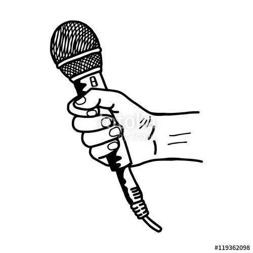 Drawn microphone hand drawing Holding hand drawn retro doodle