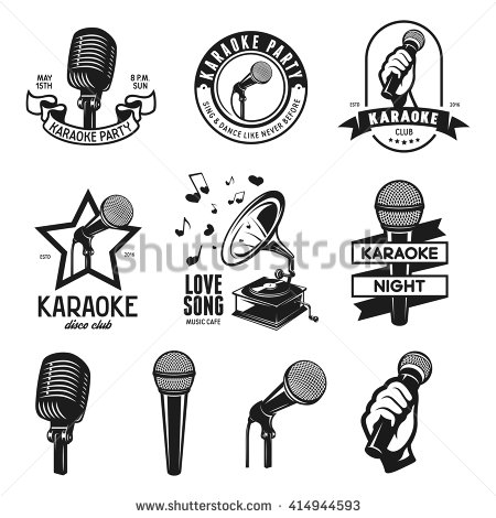 Drawn microphone karaoke Elements of karaoke Karaoke design