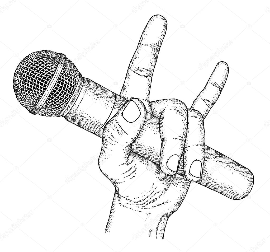 Drawn microphone micro Hand In Microphone  Drawing