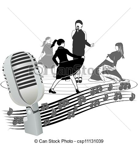 Drawn microphone music notes clipart Of microphone Musical and notes