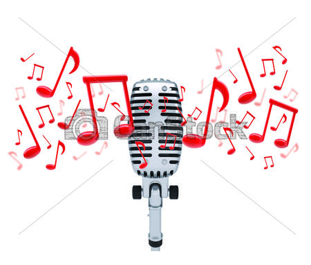Drawn microphone music notes clipart Microphone of csp20095489 Music around