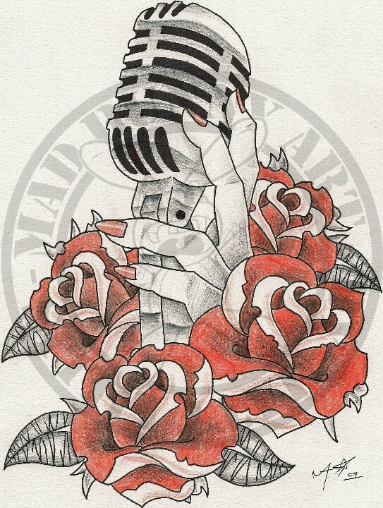 Drawn microphone old style Tattoo Pinterest 46 images Musik