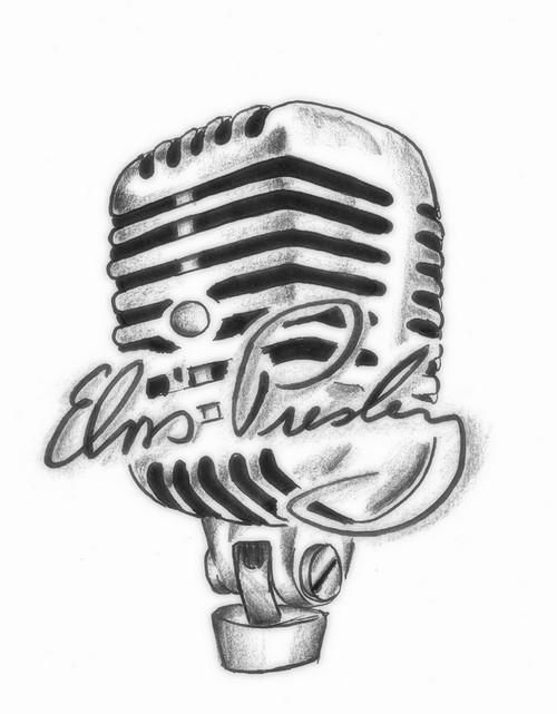Drawn microphone rockabilly On and Pin ink more
