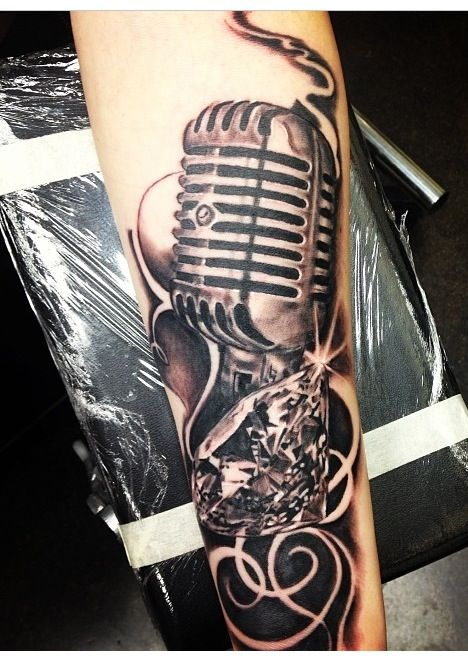 Drawn microphone rockabilly On Microphone And Arm Tattoo