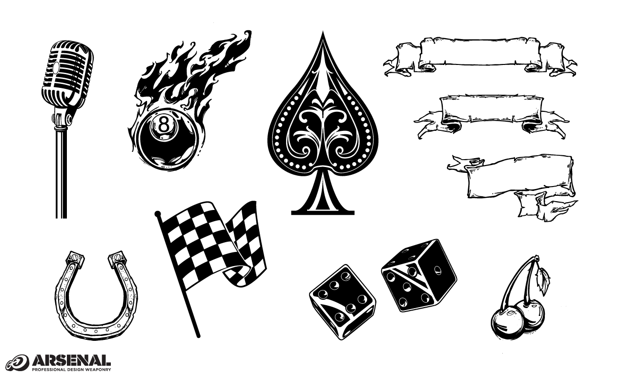 Drawn microphone rockabilly Icons Pack Vector Vector Rockabilly