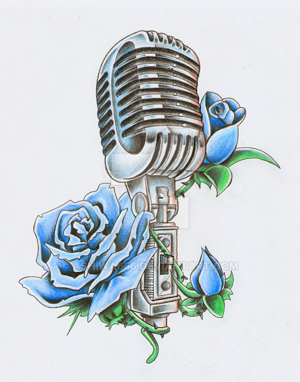 Drawn microphone rockabilly  on and Pin HEADPHONES