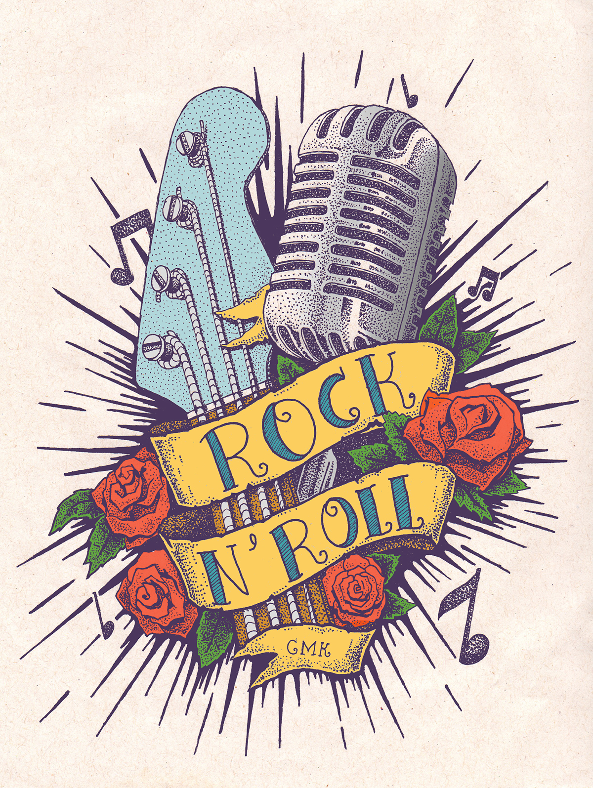 Drawn microphone rockabilly On and Pin guitar more