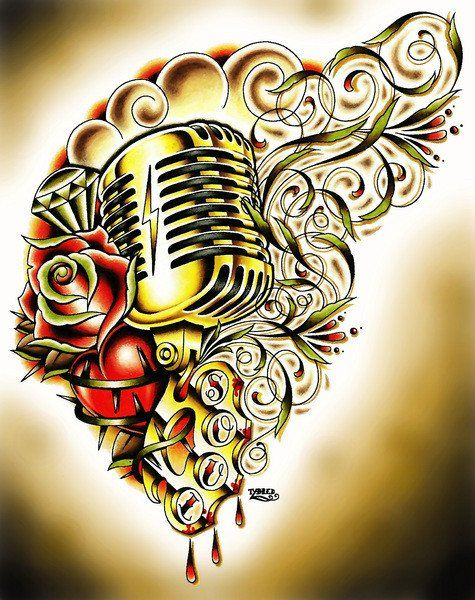 Drawn microphone rockabilly Mic Bredeweg by Soul Vintage