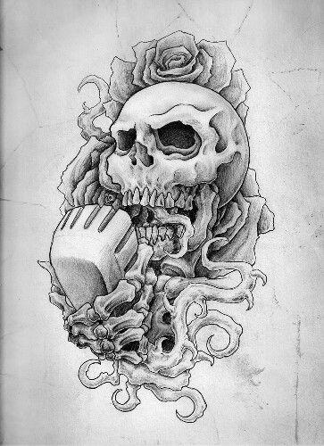 Drawn microphone skull Tattoo tattoo Skull tattoo microphone