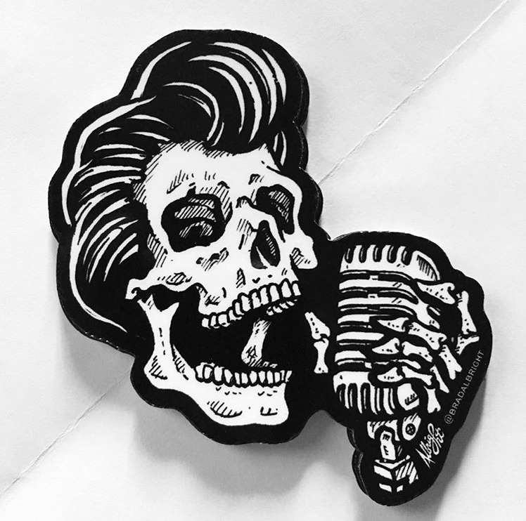 Drawn microphone skull Greaser Vintage with Skull Microphone
