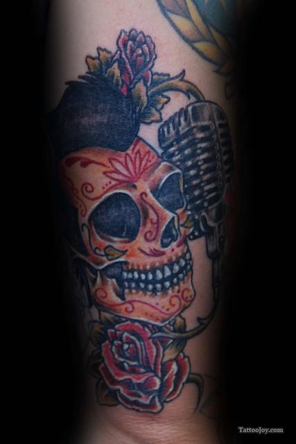 Drawn microphone skull Sugar Mic with Skull tattoo