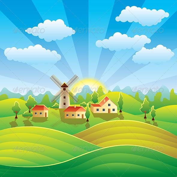 Drawn scenery summer season Fields Houses Landscape ideas with