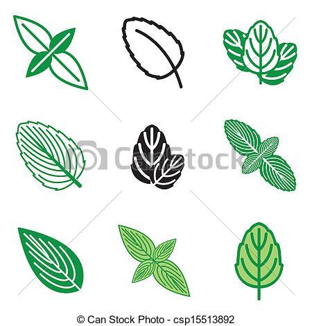 Mint clipart vector Mint icons of leaf set