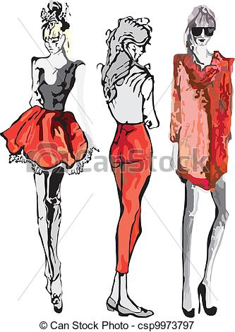 Drawn model Model fashion Model Vectors Fashion