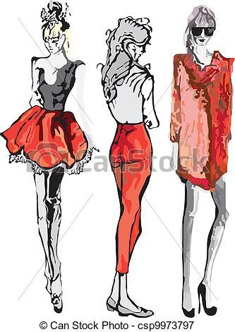 Drawn model Model fashion Model Vectors Fashion