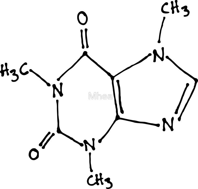 Drawn molecule Drawn caffeine by molecular structure
