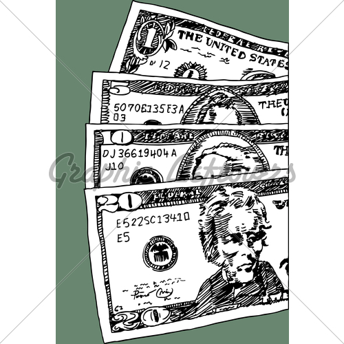 Drawn money U Up American Currency Of