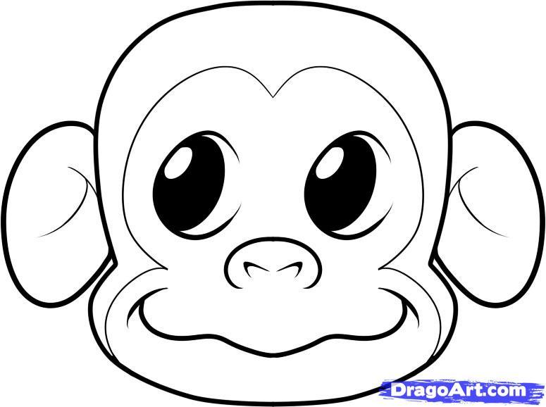 Drawn monkey Step draw to a monkey