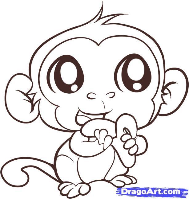 Drawn monkey By drawing eating Monkey