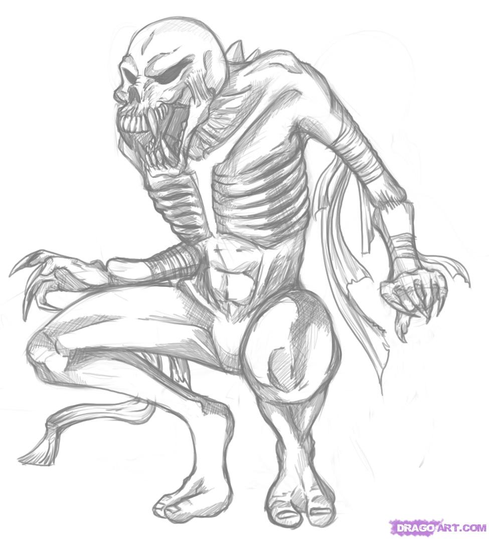 Drawn monster By Step by Step ghoul