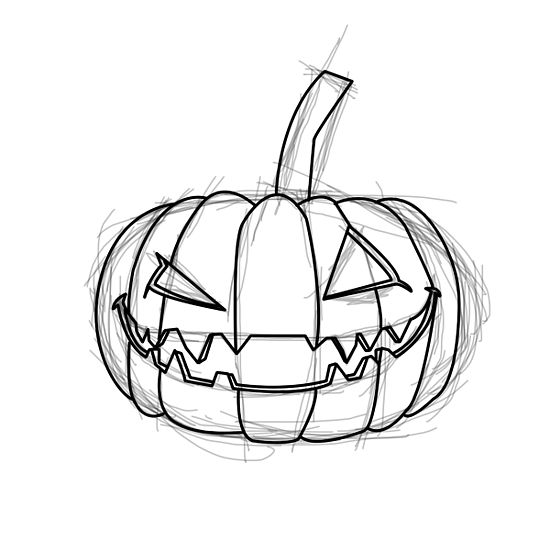 Drawn pumpkin creepy (with Evil How Draw an