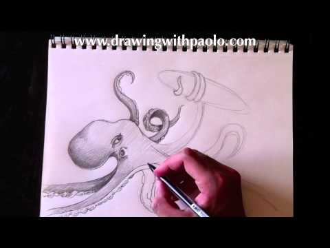 Drawn squid sea creature  monster Paolo YouTube sea