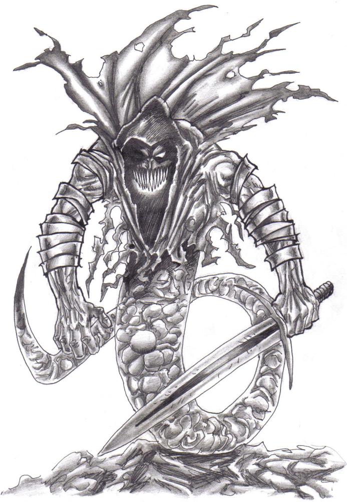 Drawn snake demon Demonic666evil by by snake demonic666evil