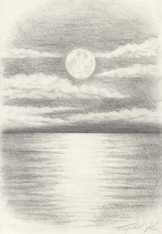 Drawn sea pencil drawing For Drawings Pencil Moon Of