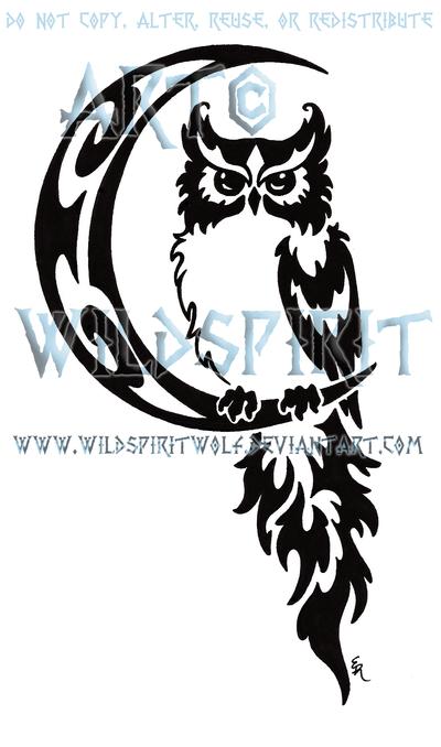 Drawn owl moon Tattoo And Tattoo Tattoo Celestial