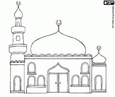 Drawn mosque Coloring children Muslim for minaret