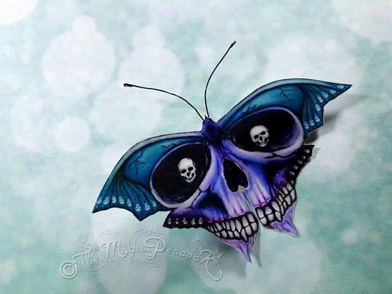 Drawn butterfly eye Death Bat decoration/decal small Gothic