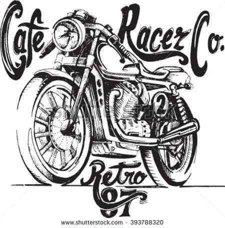 Drawn motorcycle Drawn hand vector Estampas hand