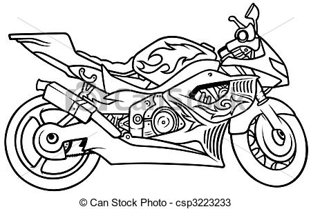 Drawn motorcycle Clipart  Hand illustration 946