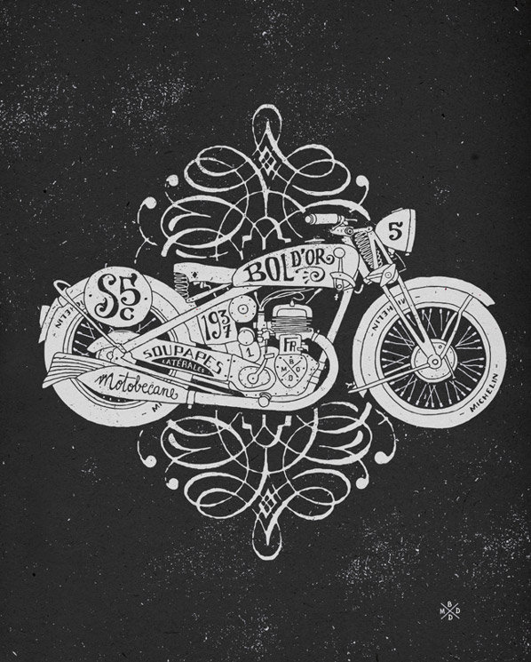 Drawn biker illustrator Culture Motorcycle by Cool Illustrations