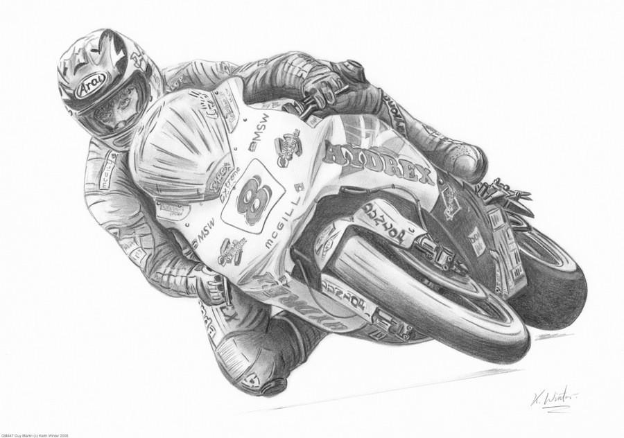 Drawn biker race bike #6