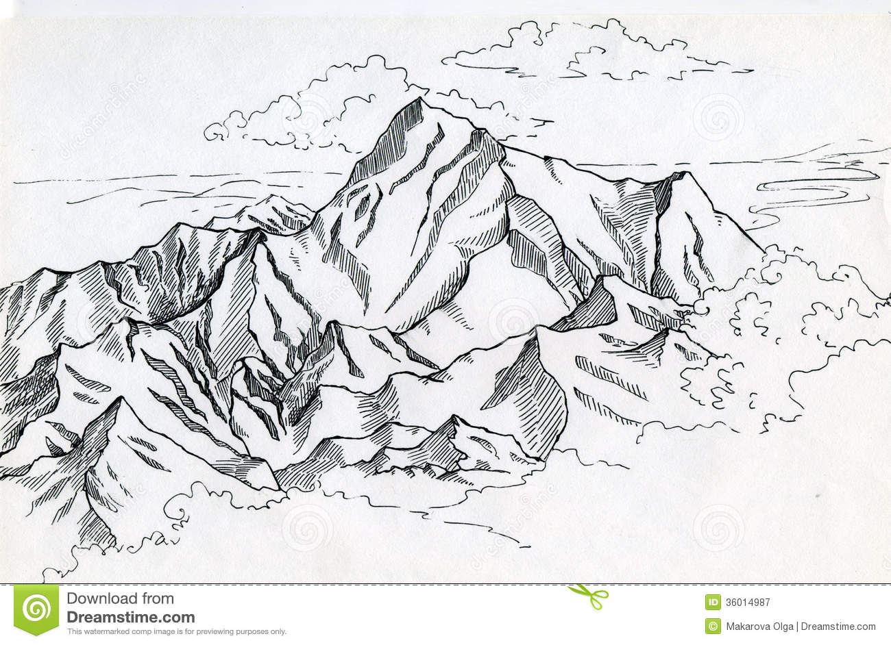 Drawn clouds ink drawing Drawing mountain mountains  Search