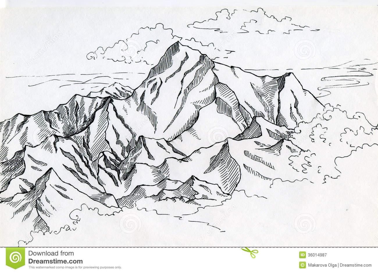 Drawn mountain Mountain mountains Search range mountain