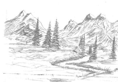 Drawn river simple Art Images Pencil Drawing Mountain