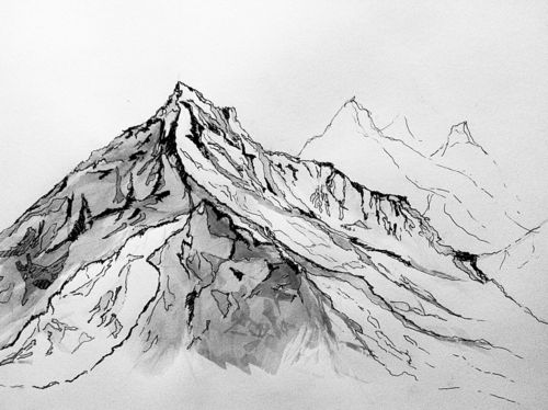 Drawn mountain Mountain the with drawing woman
