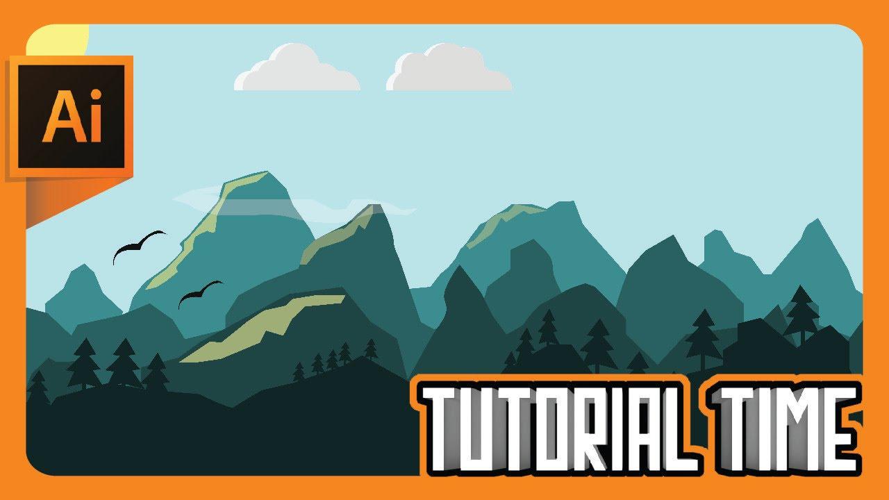 Drawn mountain adobe illustrator Time Flat : to landscape