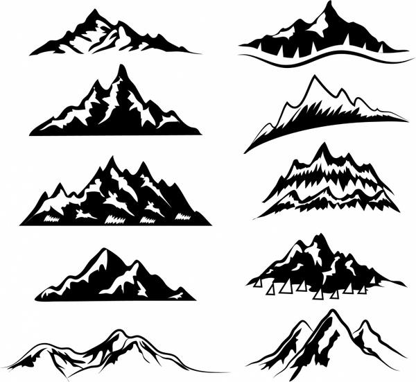 Drawn mountain adobe illustrator Adobe in vector Mountains Mountain