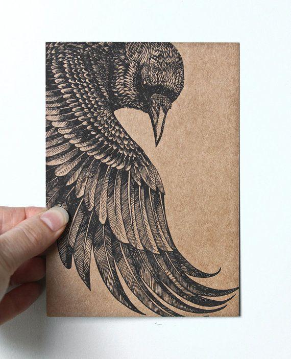 Drawn raven art deco Detailed black a paper Postcard