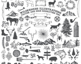 Animal clipart wilderness Clip Cartography Drawn Hand Rustic