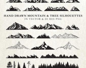 Mountain clipart hand drawn Nature Nature Tree art Drawn