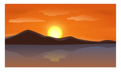 Drawn sunset mountain Cartoon sunrise a sunrise Drawing
